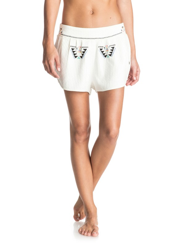 0 Flying Birds - Bestickte Shorts Weiss ERJNS03079 Roxy