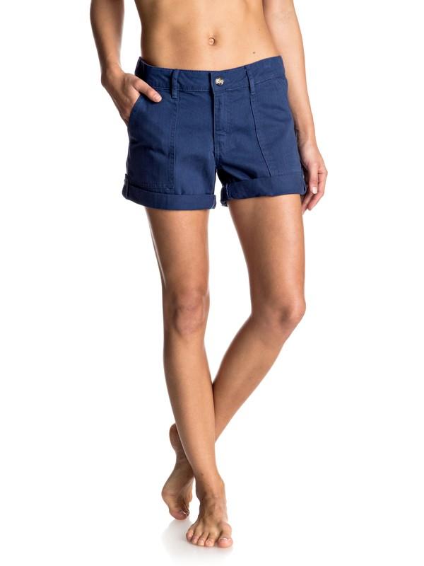 0 Memory Holidays - Gekrempelter Shorts Blau ERJNS03089 Roxy