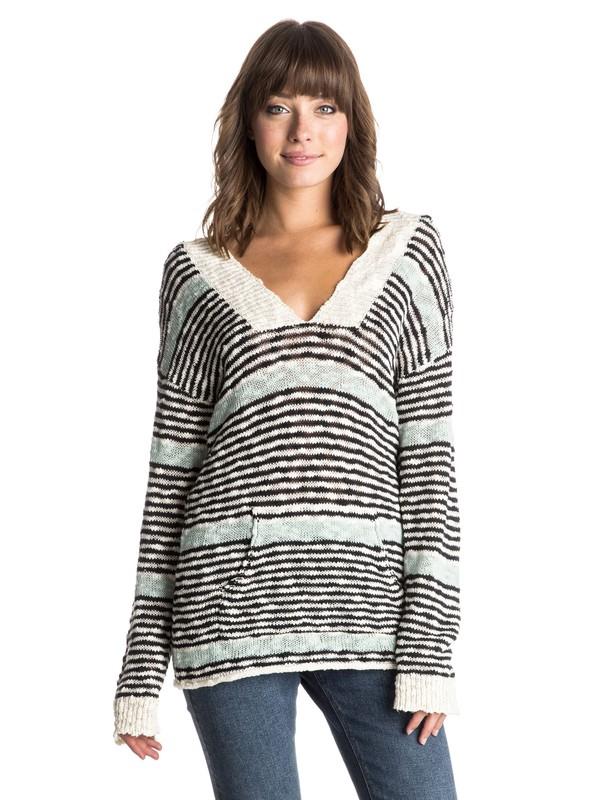 0 Warm Heart Stripe Hooded Pancho Sweater  ERJSW03118 Roxy
