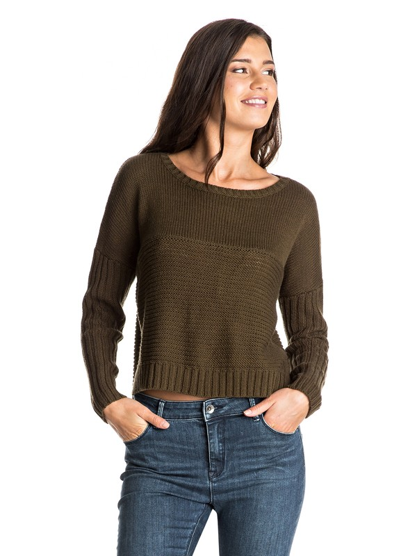 0 True To Your School - Korte Sweater Brown ERJSW03125 Roxy