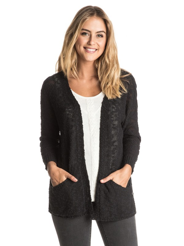 0 Move On Up - Open-Front Cardigan Black ERJSW03164 Roxy