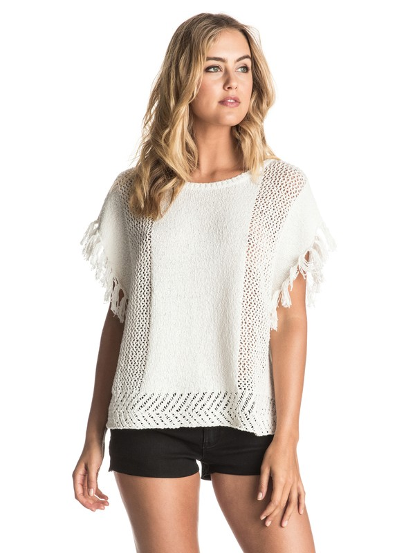 0 Ladies Of The Canyon - Fringe Poncho White ERJSW03167 Roxy