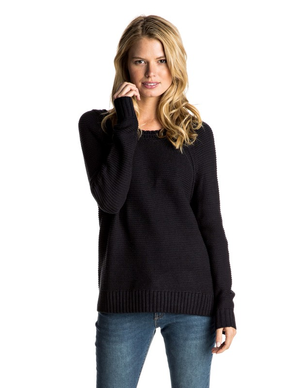 0 Lost Coastlines - Open-Neck Jumper Black ERJSW03184 Roxy