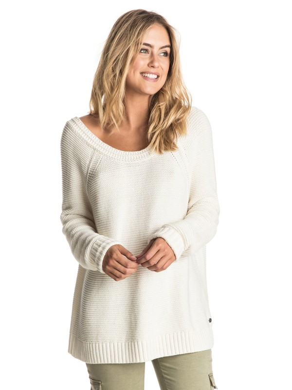 0 Lost Coastlines - Open-Neck Jumper White ERJSW03184 Roxy