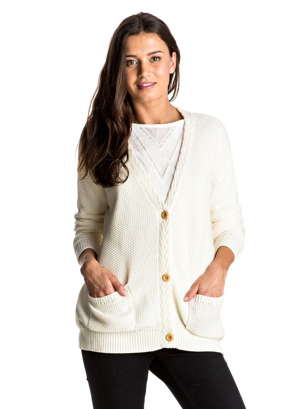 0 Fade Out Lines - Cardigan White ERJSW03203 Roxy