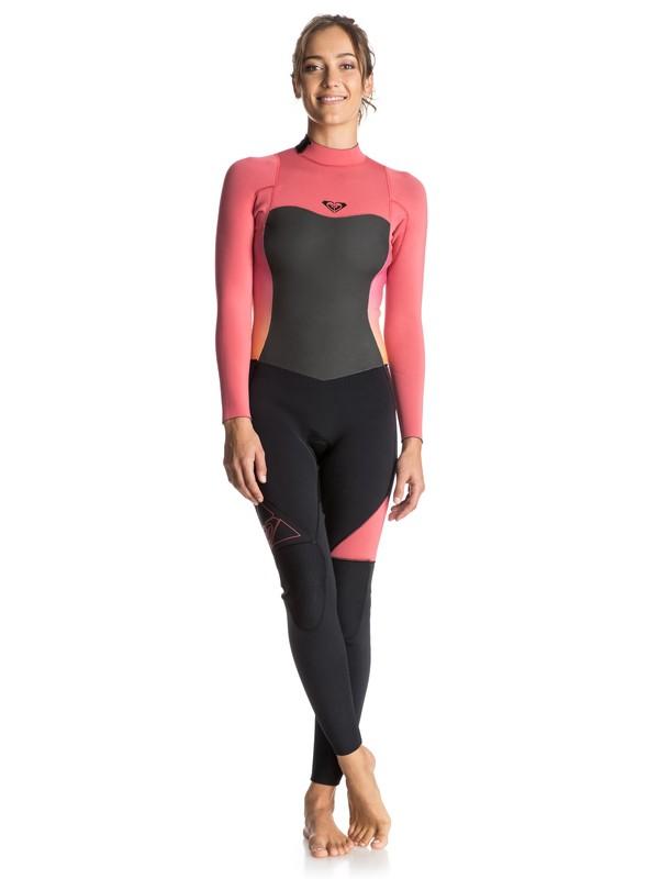 0 Syncro 4/3mm Back Zip Wetsuit Pink ERJW103010 Roxy