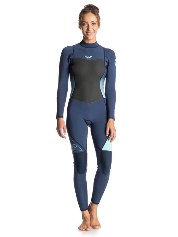 0 Syncro 3/2mm Back Zip Full Wetsuit Blue ERJW103014 Roxy