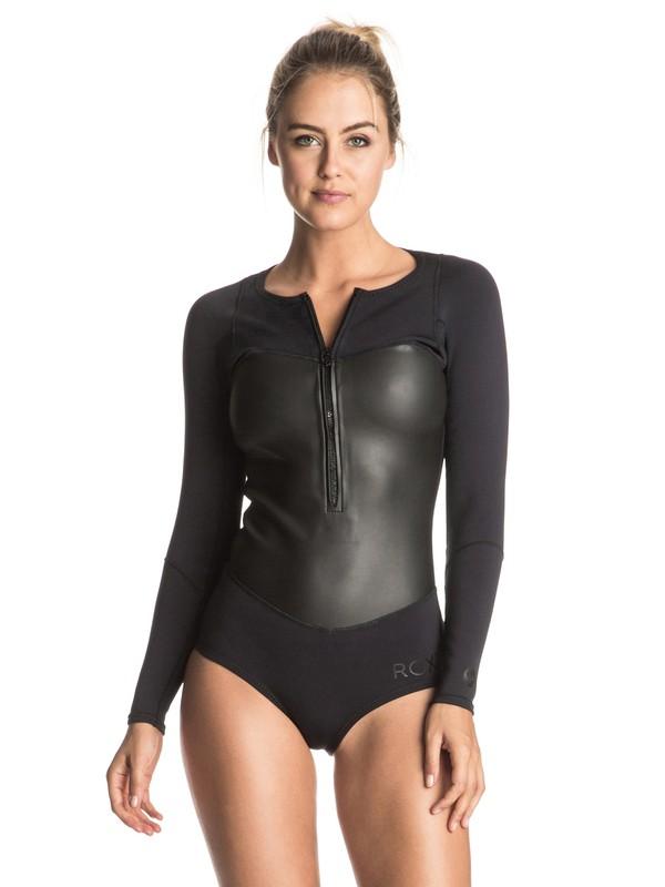 0 Pop Surf 1mm - Chest Zip Long Sleeve Springsuit Black ERJW403005 Roxy
