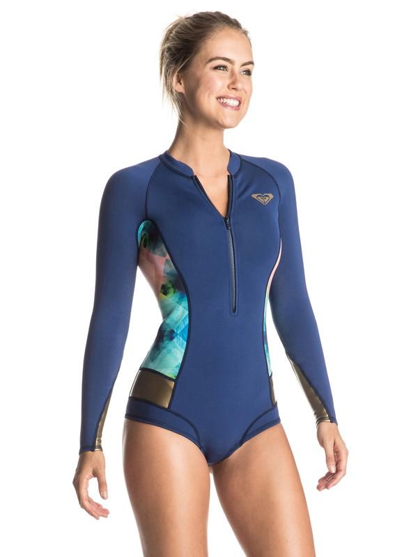 0 Pop Surf 2mm Long Sleeve One Piece Wetsuit Blue ERJW403008 Roxy