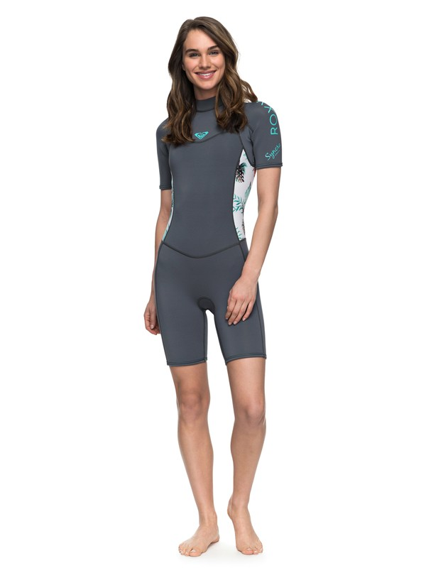 0 2mm Syncro Series - Short Sleeve Back Zip FLT Springsuit Blau ERJW503007 Roxy