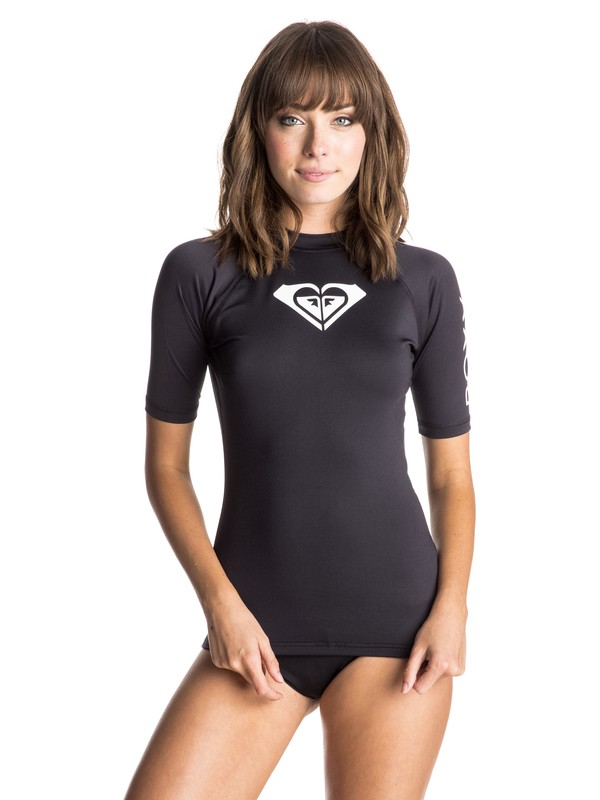0 Whole Hearted Short Sleeve Rashguard Black ERJWR03043 Roxy