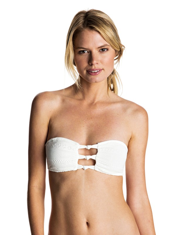0 Drop Diamond - Knotted Bandeau Bikini Top White ERJX303365 Roxy