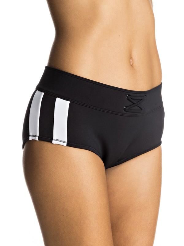 0 Lisa Andersen Mid Waist Bikini Bottoms Black ERJX403442 Roxy