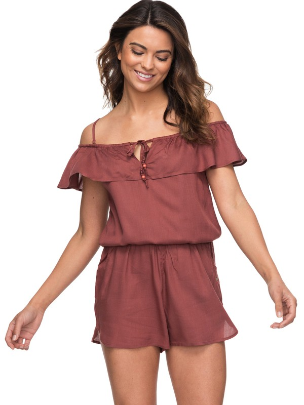 0 Western Holiday Off The Shoulder Romper Brown ERJX603112 Roxy
