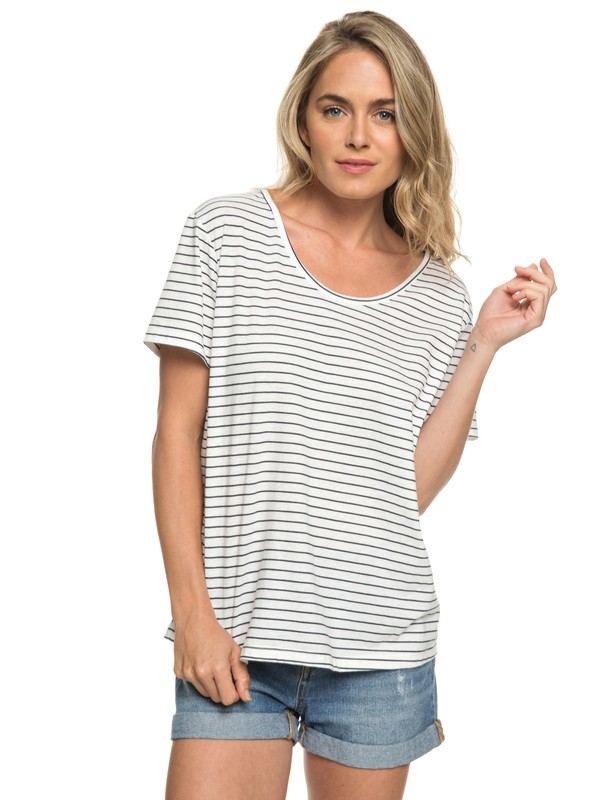 0 Just Simple Stripe - T Shirt col rond Bleu ERJZT04056 Roxy