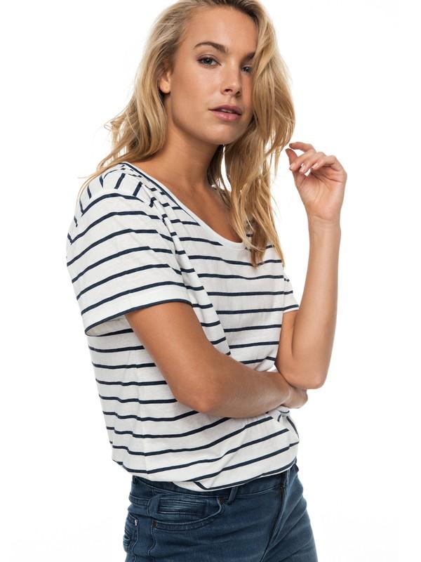 0 Just Simple Stripe - T Shirt col rond Blanc ERJZT04056 Roxy
