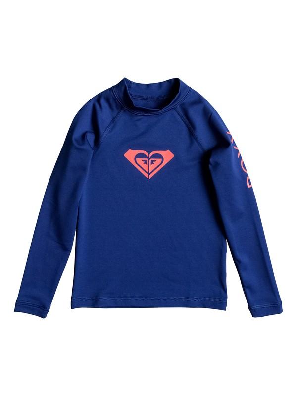 0 Girls 2-6 Whole Hearted Long Sleeve Rashguard Blue ERLWR03006 Roxy