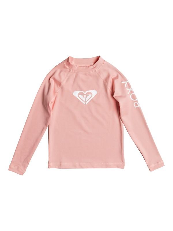 0 Girls 2-6 Whole Hearted Long Sleeve Rashguard Pink ERLWR03006 Roxy