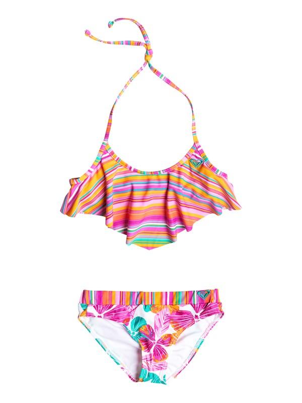 0 Girl's 7-14 Jungle Times Striped Flutter Bikini Set  RRF58517 Roxy