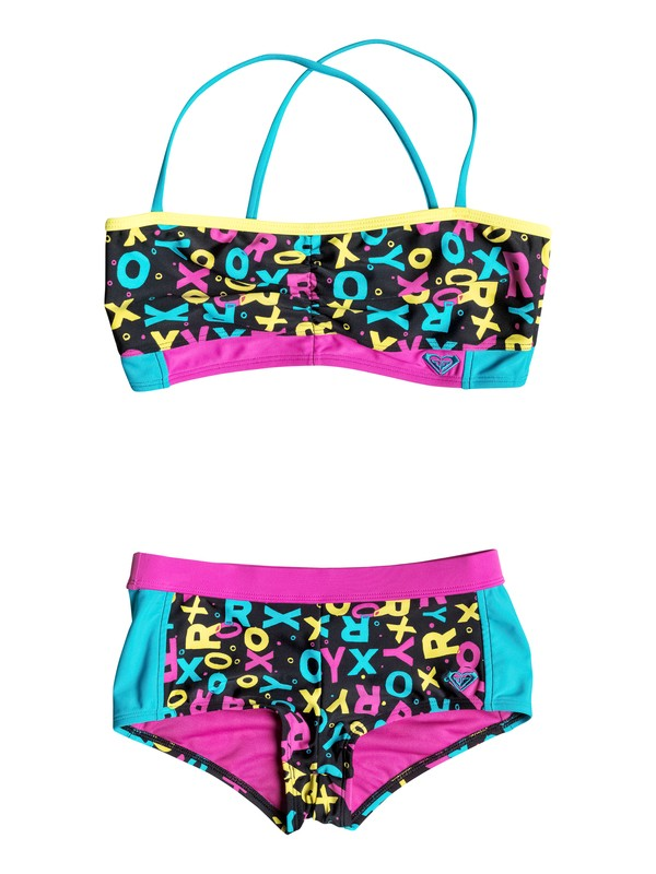 0 Girl's 7-14 Roxy Pop Logo Criss Cross Shorts Set  RRF58567 Roxy
