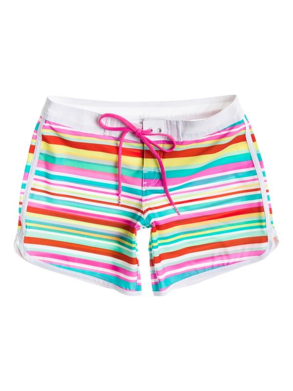 "0 Girl's 7-14 Surfs Up Stripe 5"" Inseam Boardshorts  RRS55177 Roxy"