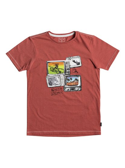 Heather super tv <strong>t</strong> shirt col rond pour garçon rouge quiksilver