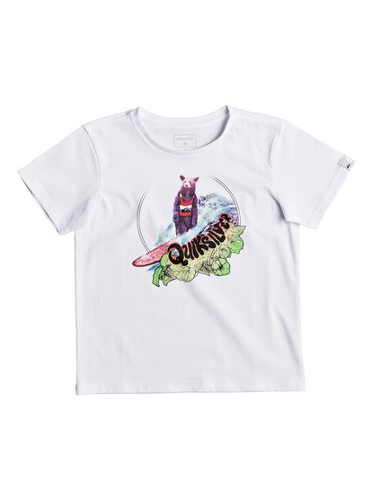 Classic log bear <strong>t</strong> shirt col rond pour garçon blanc quiksilver